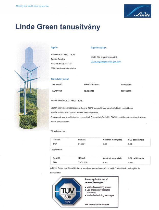 Linde Green tanusítvány